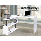 Office Computer Desk Corner Table w/ Bookshelf White-Lilypond Kids