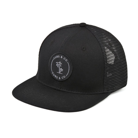 Signature Snapback Hat - Black With Logo-Lilypond Kids