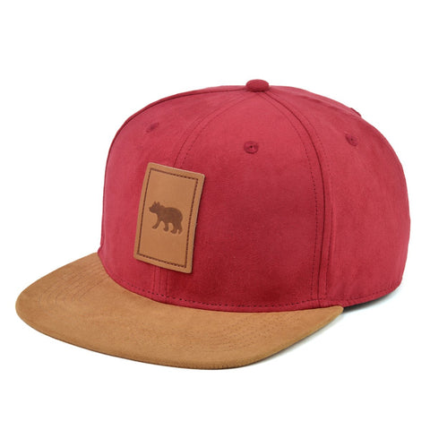 Red Suede Snapback Hat With Cub Detail-Lilypond Kids