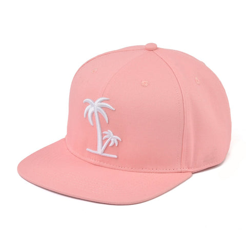 Peach With White Palm Tree Snapback Hat With Logo-Lilypond Kids