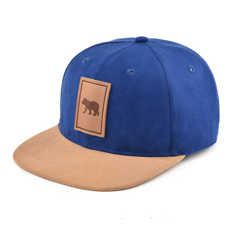 Blue Suede Snapback Hat With Cub Detail-Lilypond Kids