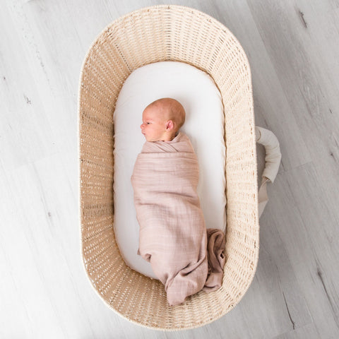 Love & Lee Organic Cotton Muslin Swaddle Wraps – Dusty Pink-Lilypond Kids