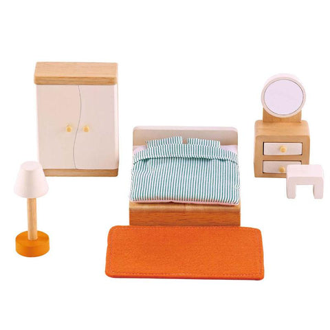 Hape All Seasons Dollhouse Master Bedroom 9 Pieces-Lilypond Kids