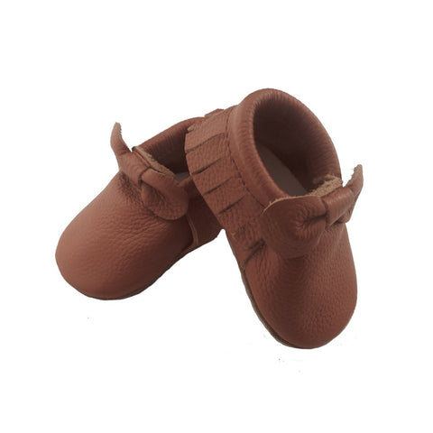 Brown Bow Moccasins-Lilypond Kids