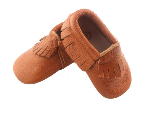 Brown Frilled Moccasins-Lilypond Kids