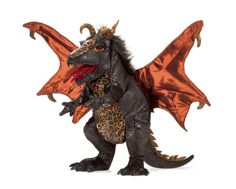 Folkmanis Black Dragon Puppet-Lilypond Kids