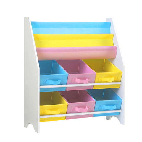 Artiss Kids Bookshelf Toy Storage Organizer Bookcase 2 Tiers-Lilypond Kids