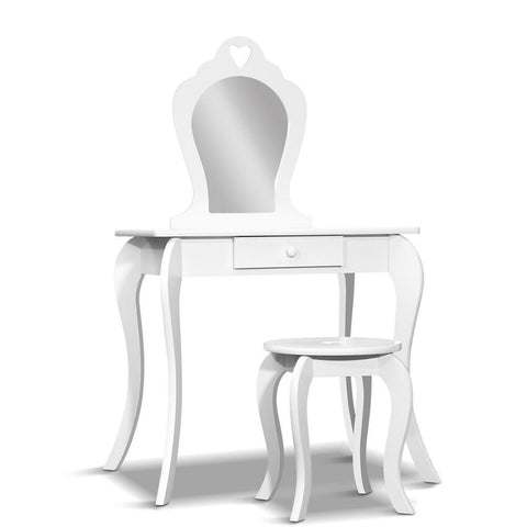 Artiss Kids Dressing Table Stool Set - White-Lilypond Kids