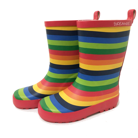 Kids Rubber Gumboots Rainbow Stripe-Lilypond Kids