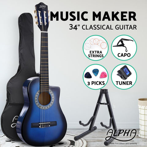 "Alpha 34"" Inch Kids Size Acoustic Guitar Blue with Capo Tuner-Lilypond Kids"