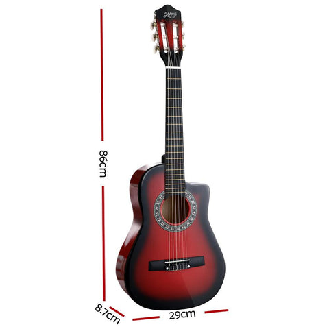 Alpha 1/2 Size Kids Acoustic Guitar - Red-Lilypond Kids
