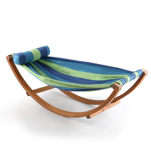 Keezi Kids Timber Hammock Bed Swing - Blue-Lilypond Kids