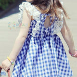 Girls Summer Plaid Dress Camisole Neck Lace Detail Blue/Red-Lilypond Kids