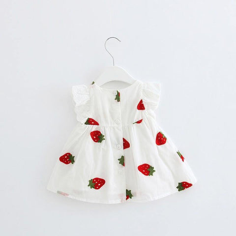 Baby Girls Sleeveless Cotton Summer Dress - Strawberry Embroidery-Lilypond Kids