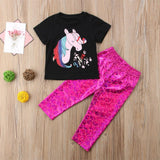 2 Piece Unicorn T-Shirt & Mermaid Pants Outfit-Lilypond Kids