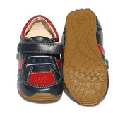 Toddler Leather Trainers Navy/Red-Lilypond Kids