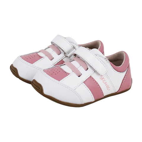 Toddler Leather Trainers Pink & White-Lilypond Kids