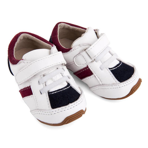 Toddler Trainers White/Navy/Red-Lilypond Kids