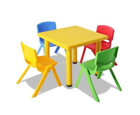 5 Pcs - Kids Table and Chairs Playset - Yellow-Lilypond Kids