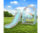 Keezi Kids Activity Center - Slide With Swing & Basketball Hoop - Green-Lilypond Kids