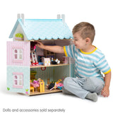 Le Toy Van - Daisylane Blue Bird Cottage Dollhouse with Furniture-Lilypond Kids