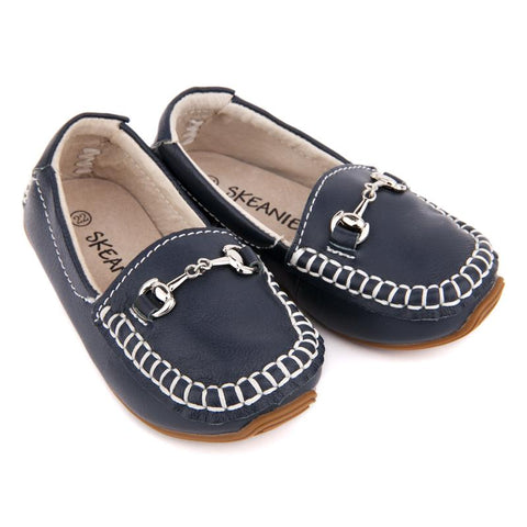 Kids Leather Loafers in Navy-Lilypond Kids