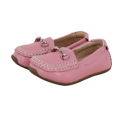 Kids Classic Leather Loafers in Pink-Lilypond Kids