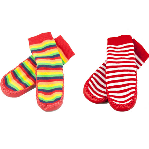 Moccasin Socks Rainbow & Red/White 2 Pack-Lilypond Kids