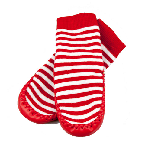 Socks Leather & Cotton Moccasin Red-Lilypond Kids