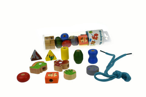 Wooden Dinosaur Lacing Bead Set In Tube-Lilypond Kids
