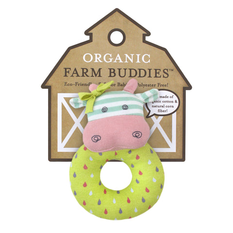 Organic Farm Buddies - Belle The Cow Organic Rattle - Lilypond Kids