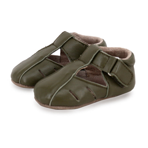 Pre-walker Dakota Leather Shoes in Khaki-Lilypond Kids