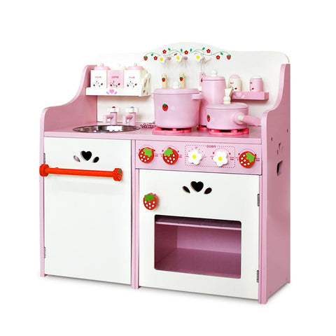 Keezi Kids Kitchen Play Set - Pink-Lilypond Kids