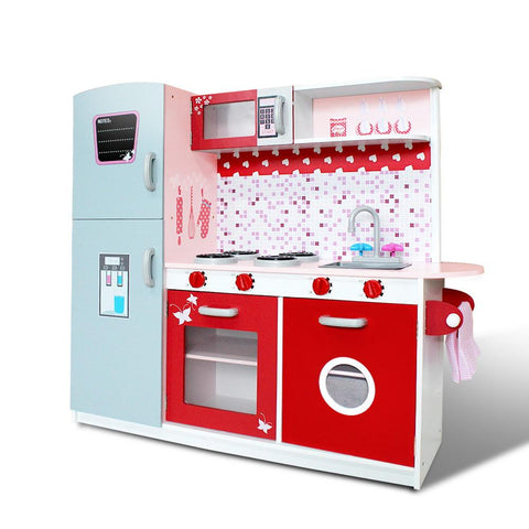 Keezi Kids Wooden Kitchen Play Set - Pink & Red-Lilypond Kids