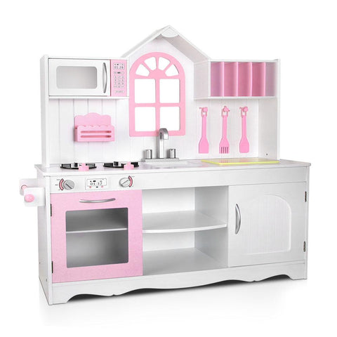 Keezi Kids Wooden Kitchen Play Set - White & Pink-Lilypond Kids