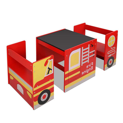 Keezi Kids Fire Truck Table & Chair Set-Lilypond Kids