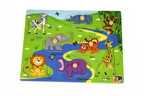 2in1 Safari Animal Peg Puzzle-Lilypond Kids
