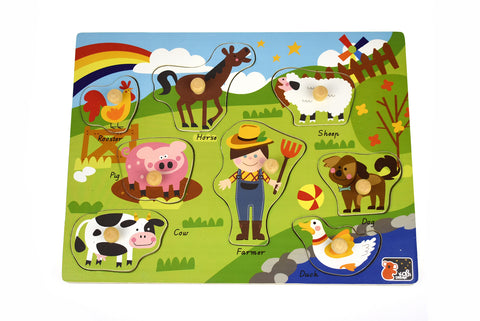 2in1 Farm Animal Peg Puzzle-Lilypond Kids