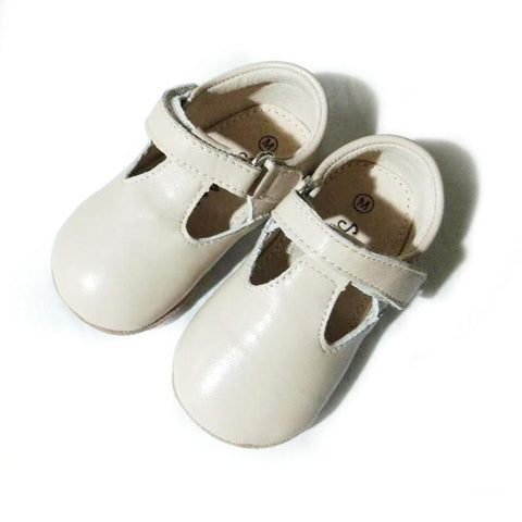 Pre-walker Leather T-Bar Shoes Cream-Lilypond Kids