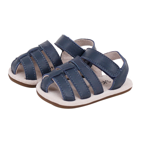 Pre-walker Leather Ziggie Sandals in Navy-Lilypond Kids