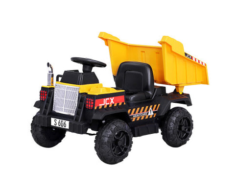 Rigo Kids Ride On Car Dumptruck 12V Electric Bulldozer Toys Cars Battery Yellow-Lilypond Kids