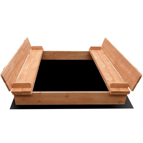 Keezi Wooden Outdoor Sandpit Set - Natural Wood-Lilypond Kids