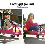 Keezi Kids Ride On Swing Car - Pink-Lilypond Kids