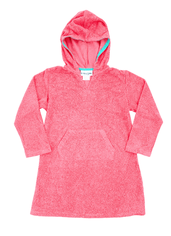 Pink Hooded Stretch Towelling Cotton Coverup - Lilypond Kids