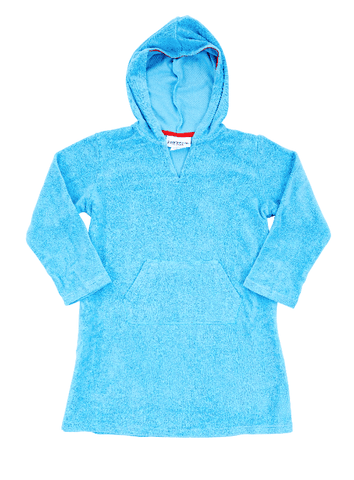 Blue Hooded Stretch Towelling Cotton Coverup-Lilypond Kids