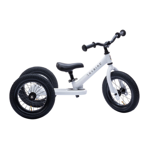 White Trybike, Black Seat and Grips (3 wheel)-Lilypond Kids
