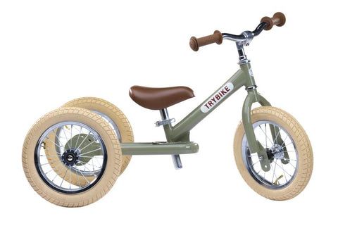 Green Vintage Trybike, Cream Tyres and Chrome (3 wheel)-Lilypond Kids
