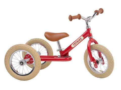 Red Vintage Trybike, Cream Tyres and Chrome (3 wheel)-Lilypond Kids