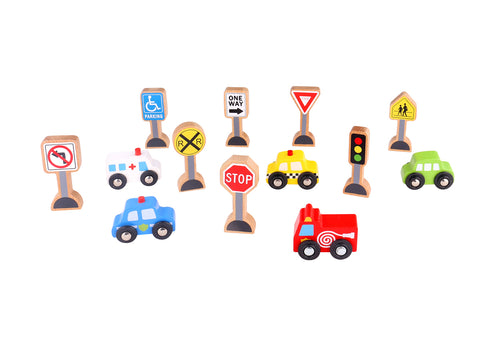 TRANSPORTATION & SIGN SET-Lilypond Kids