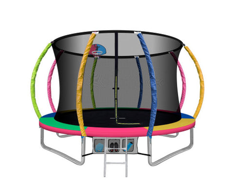 10FT Trampoline Round With Basketball Hoop Kids Present Gift Enclosure Safety Net Pad Outdoor Multi-coloured-Lilypond Kids